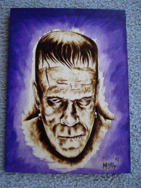 Tattoos - Frankenstein woodburning - 64061