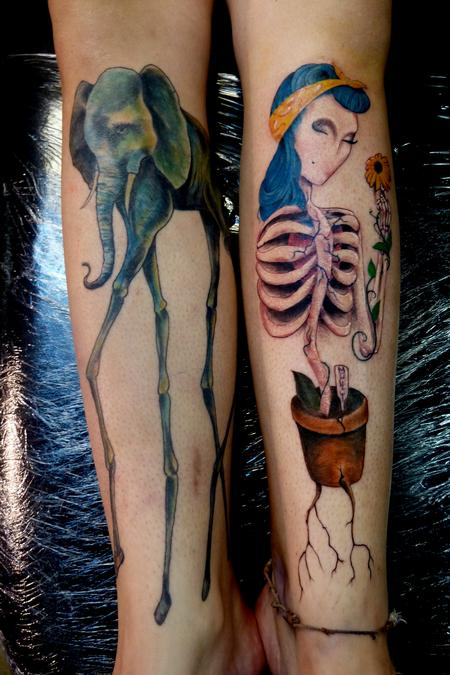 Tattoos - Skeletal Growth shin tattoos - 74138