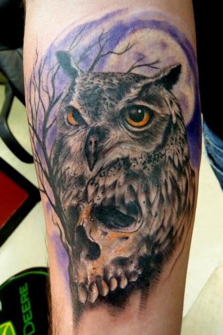Mully tattoo tattoos black and gray owlskull for Owl tattoo skull