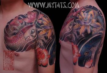 Tattoos - Koi around Lotus - 29487