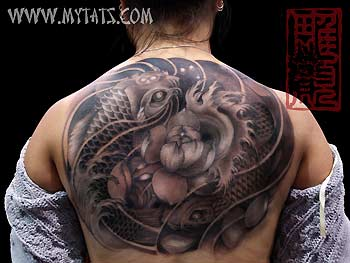 Tattoos - Koi around Lotus - 29486