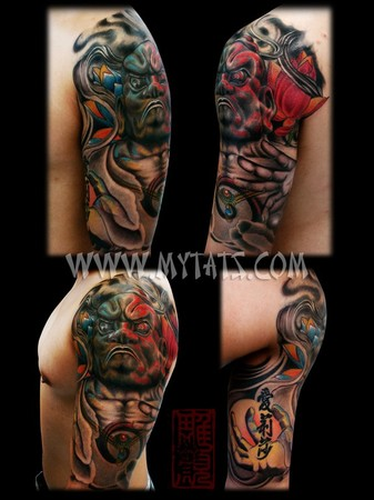 Tattoos - Nioh statue half-sleeve done by Jess Yen (Horiyen) - 37871