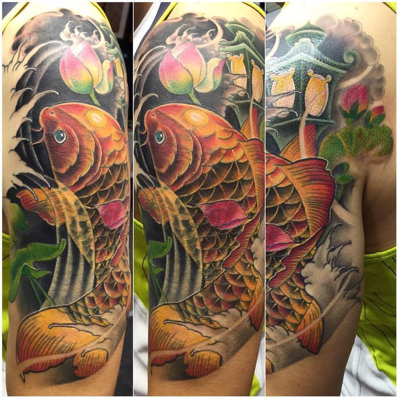 Carpa estilo neo japanese cover up by yarda tattoonow for Neo japanese tattoo