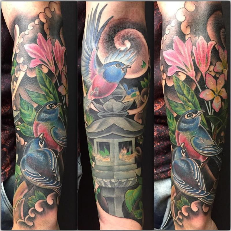 Neo japanese birds in color by yarda tattoonow for Neo japanese tattoo