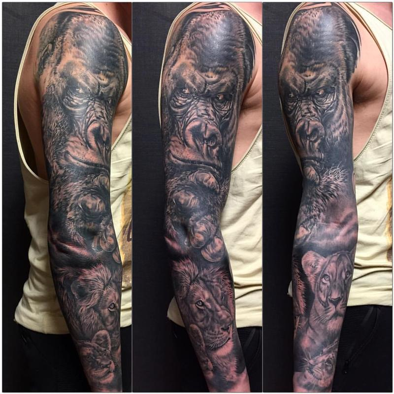 jungle themed full sleeve by yarda tattoonow
