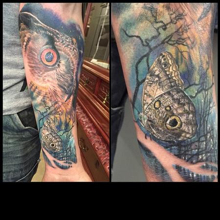 Tattoos - Buho y mariposa realista a color - Realistic Owl and butterfly in color - 117449