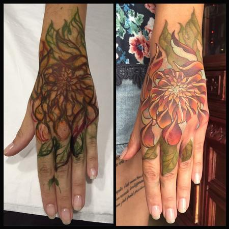 Tattoos - Free hand chrysanthemum new school - 117456