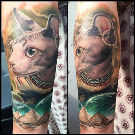 Tattoos - Realistic egyptian cat in color -  gato egipcio a color - 117457