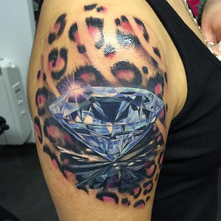 Tattoos - Diamante y leopardo a color - Realistic diamond / leopard  - 117474