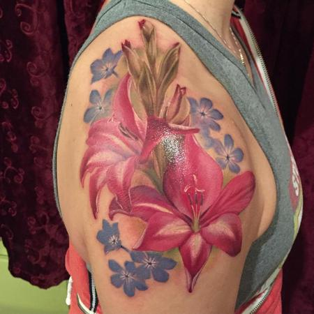 Tattoos - Flores realista a color - Realistic flower in color - 117476