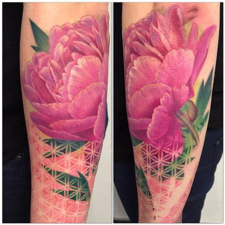 Tattoos - Peonia a color  - 117507