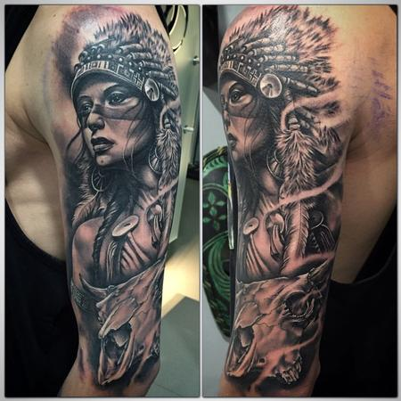 Tattoos - Realistic Indian girl black and grey & cow skull - 117229