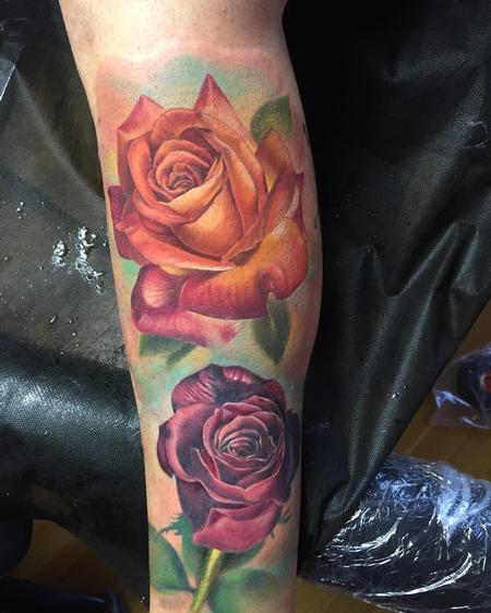 Tattoos - Rosas realista a color - Realistic roses in color - 117479