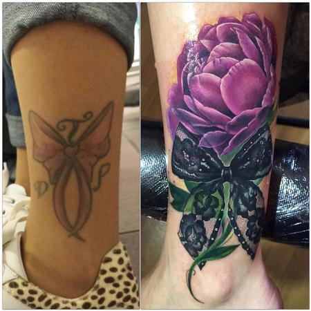 Tattoos - Cover up Peony and bow - 117777