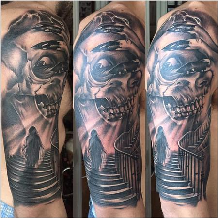 Tattoos - Horror stairs with skull Realistic black and grey - 117779
