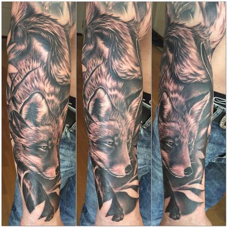 Tattoos - Realistic fox black and grey - 119104