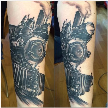 Tattoos - Realistic train black and grey - 119103