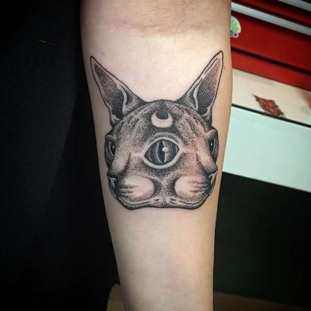 Tattoos - Two-faced sphynx cat in dotwork - 123164