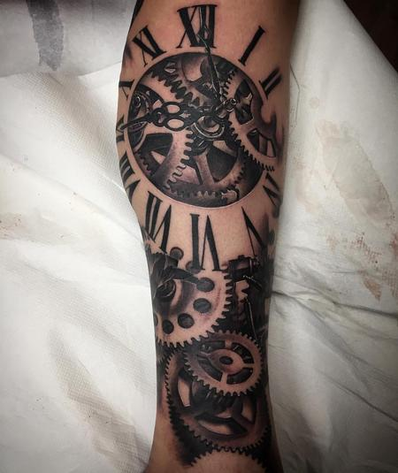 Tattoos - Realistic Clockwork Black and Gray - 123352