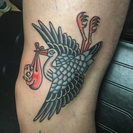 Tattoos - Cigüeña a color tradicional - 124940