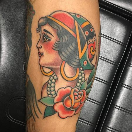 Tattoos - Traditional Color Gipsy Woman - 125094