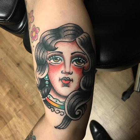 Tattoos - Rostro de Mujer Old School a Color - 125236