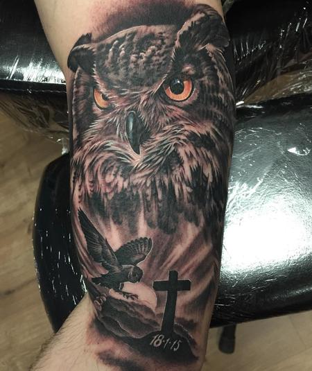 Tattoos - Owl Black and Gray - 125288