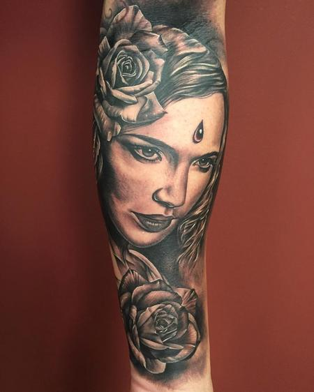 Tattoos - Realistic Woman and Flowers in Black and Gray - 125310