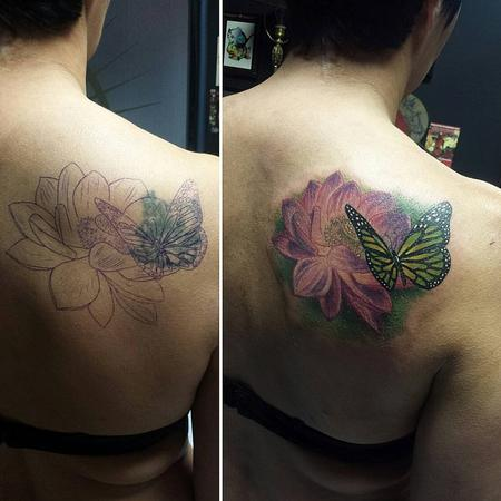 Tattoos - Colored Flower and Butterfly Tattoo Cover-Up  - 125500