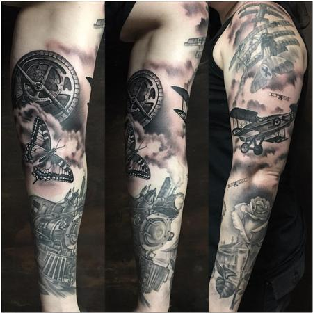 Tattoos - Realistic Full Sleeve Planes and Train - 125531