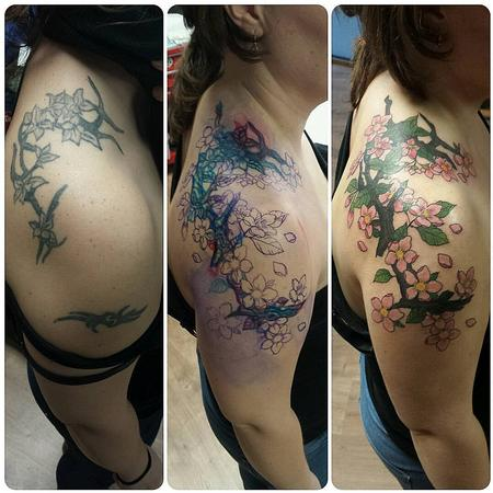 Tattoos - Cover-Up Tattoo of a Tribal with Cherry Flowers - 125752