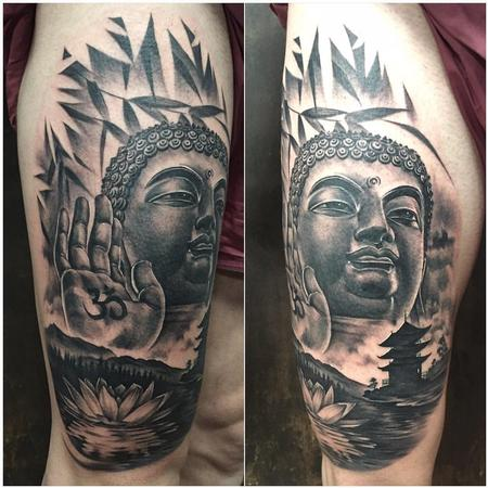 Tattoos - Realistic Buddha with Lotus Flower and Temple - 125735