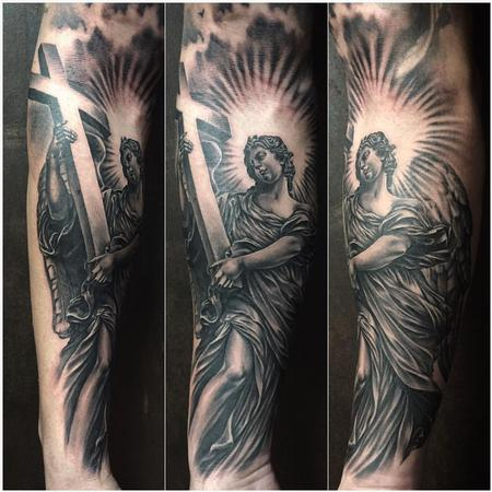 Tattoos - Realistic Angel Carrying a Cross in Black and Gray - 126062