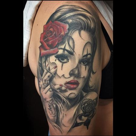 Tattoos - Realistic Katrina with a Rose in Color - 126016