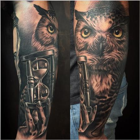 Tattoos - Realistic Owl and Sand Clock in Black and Gray - 126061
