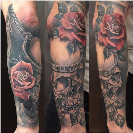 Tattoos - Realistic Muai Thai Skull and Rose in Black and Gray - 126169