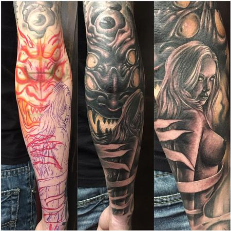 Tattoos - Realistic Woman and Demon in Black and Gray - 126301