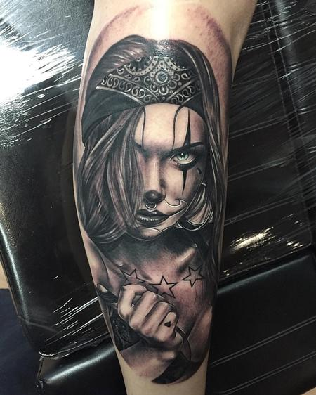 Tattoos - Realistic Girl with Chicano Make-Up in Black and Gray - 126256