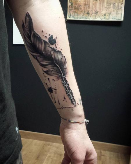 Tattoos - Writing Feather with Ink in Blackwork - 126450