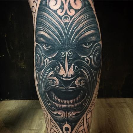 Tattoos - Realist Polynesian Moko-Tattoed Face - 126370