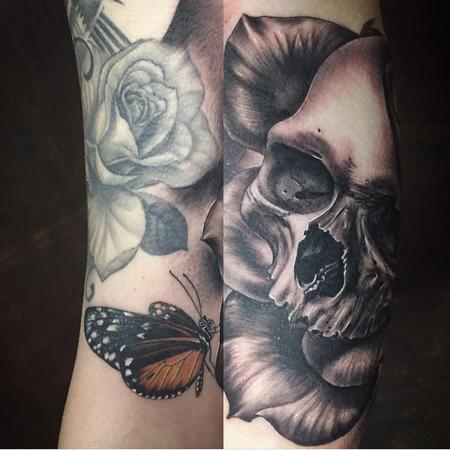 Tattoos - Realistic Skull, Rose and Butterfly - 126396