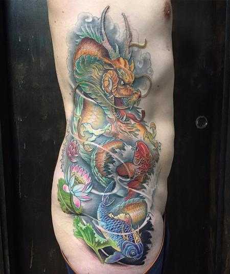 Tattoos - Neo-Japanese Dragon and Koi Fish in Color - 126460