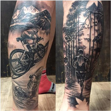 Tattoos - Triathlon Themed Tattoo in Black and Gray - 126559