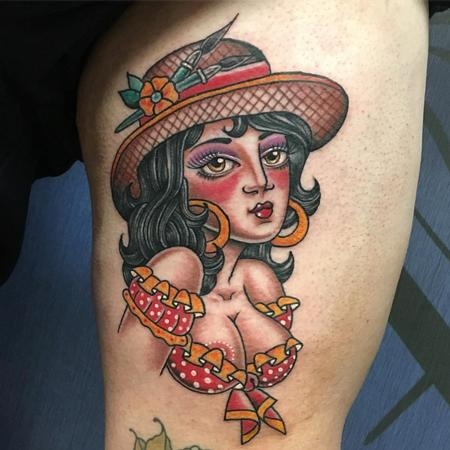 Tattoos - Chica Francesa Estilo Tradicional a Color - 126773