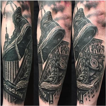 Tattoos - Realistic Trainers and Buildings in Black and Gray - 126853
