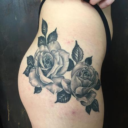 Tattoos - 2 Realistic Roses in Black and Gray - 127306