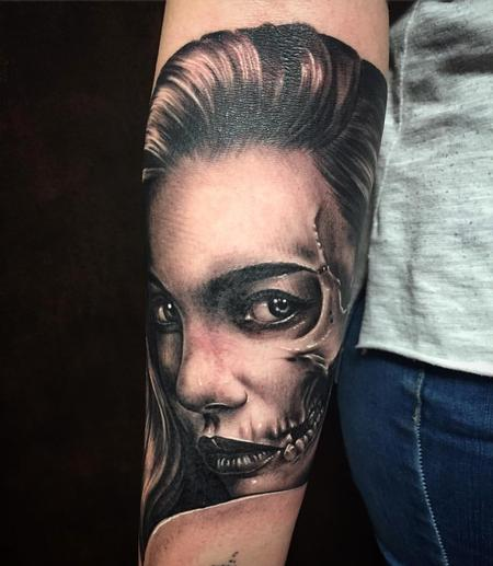 Tattoos - Realistic Girl Portrait with Skull Features Black and Gray - 127535