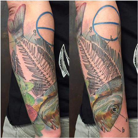 Tattoos - Realistic Fishbone in Color - 127625