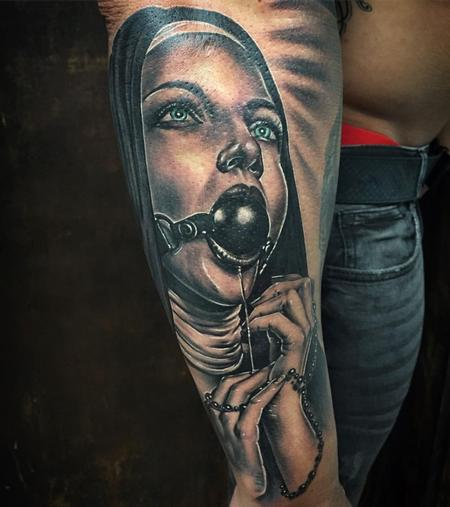 Tattoos - Realistic Masochistic Nun in Black and Gray - 127694