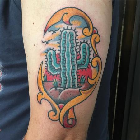 Tattoos - Cactus Estilo Tradicional a Color - 127815